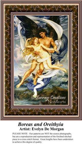 Boreas and Oreithyia, Fine Art Cross Stitch Pattern, Romance Counted Cross Stitch Pattern