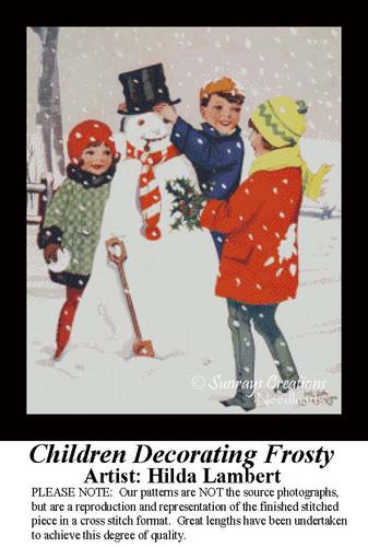 Children Decorating Frosty, Vintage Cross Stitch Pattern