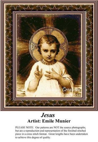 Jesus, Sepia Religious Cross Stitch Pattern