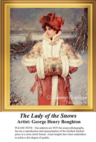The Lady of the Snow, Vintage Cross Stitch Pattern