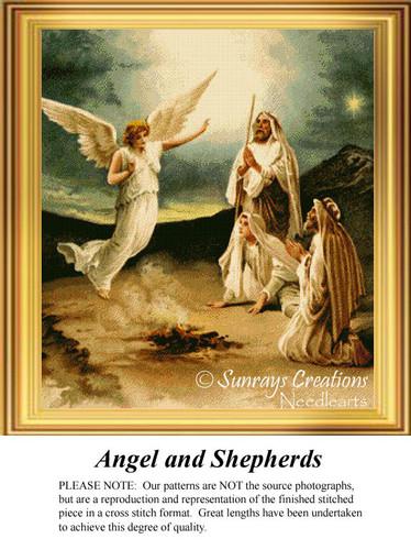 Angel and Shepherds. Vintage Cross Stitch Pattern