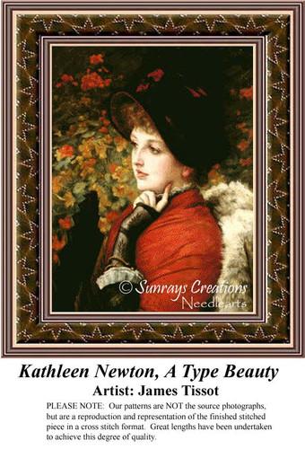 Kathleen Newton, A Type of Beauty, Fine Art Cross Stitch Pattern, Women Counted Cross Stitch Pattern