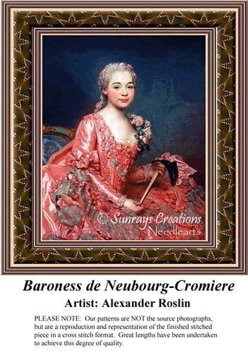 Baroness de Neuobourg-Cromiere, Fine Art Cross Stitch Pattern, Women Counted Cross Stitch Pattern