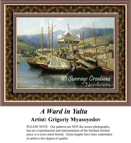 A Wharf in Yalta, Waterscapes Counted Cross Stitch Pattern, Fine Art Counted Cross Stitch Pattern
