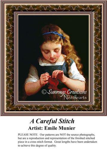 A Careful Stitch, Fine Art Counted Cross Stitch Pattern, Children Counted Cross Stitch Pattern
