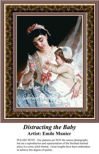 Distracting the Baby, Fine Art Counted Cross Stitch Pattern, Family Counted Cross Stitch Pattern