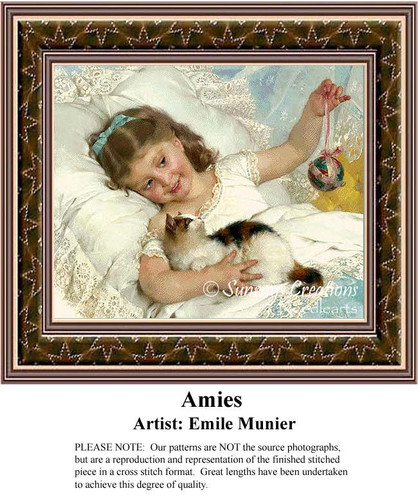 Amies, Fine Art Counted Cross Stitch Pattern, Children Counted Cross Stitch Pattern