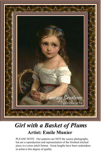 Girl with a Basket of Plums, Fine Art Counted Cross Stitch Pattern, Children Counted Cross Stitch Pattern