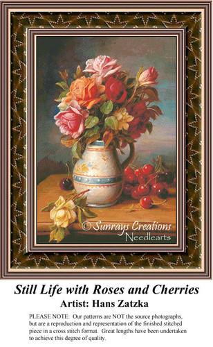 Still Life with Roses and Cherries, Still Lifes Counted Cross Stitch Pattern, Hans Zatzka Cross Stitch