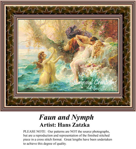 Faun and Nymph, Hans Zatzka Counted Cross Stitch Pattern, Women Counted Cross Stitch Pattern