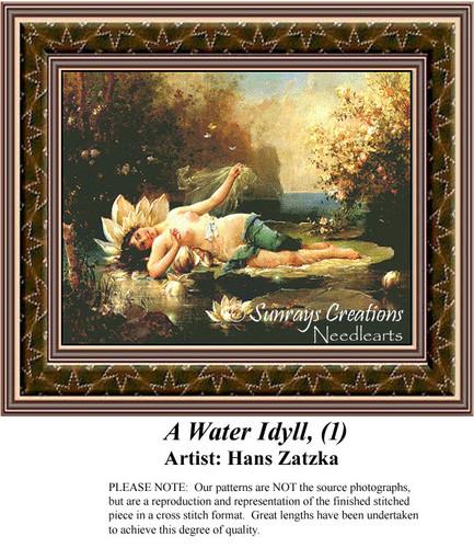 A Water Idyll, (1), Hans Zatzka Counted Cross Stitch Pattern, Women Counted Cross Stitch Pattern