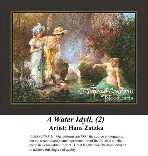 A Water Idyll, (2), Hans Zatzka Counted Cross Stitch Pattern, Fine Art Counted Cross Stitch Pattern, Social Counted Cross Stitch Pattern