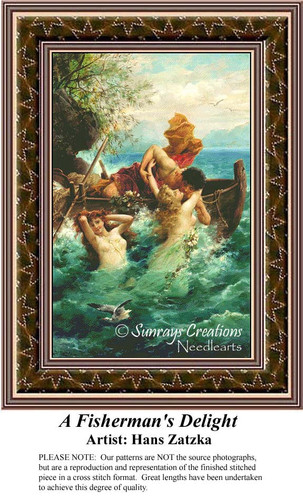 A Fisherman's Delight, Hans Zatzka Counted Cross Stitch Pattern