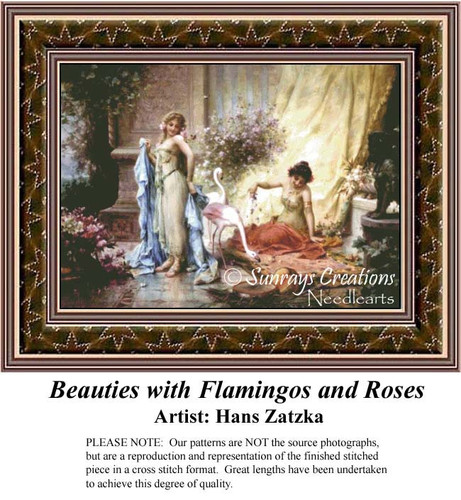 Beauties with Flamingos and Roses, Hans Zatzka Counted Cross Stitch Pattern, Social Counted Cross Stitch Pattern