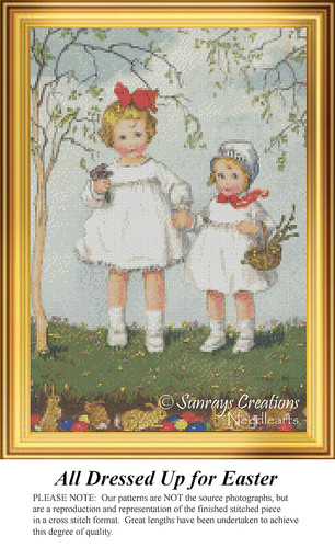 All Dressed Up for Easter, Vintage Counted Cross Stitch Pattern