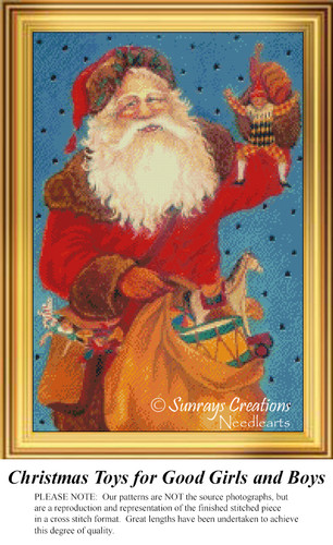 Christmas Toys for Good Girls and Boys, Vintage Counted Cross Stitch Pattern