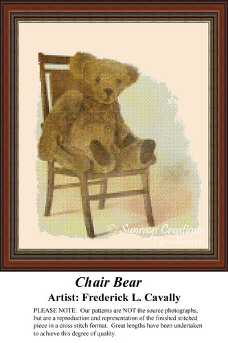 Chair Bear, Vintage Counted Cross Stitch Pattern