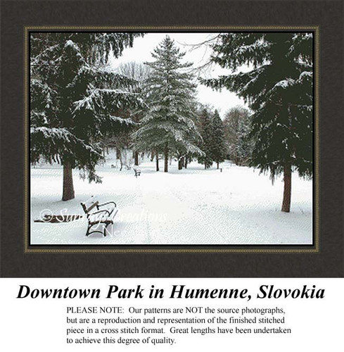 Downtown Park in Humenne, Slovokia, Fine Art Cross Stitch Pattern