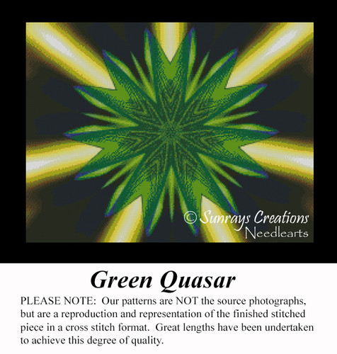 Green Quasar, Fractal Counted Cross Stitch Pattern