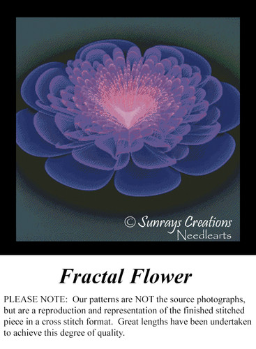 Fractal Flower, Fractal Counted Cross Stitch Pattern