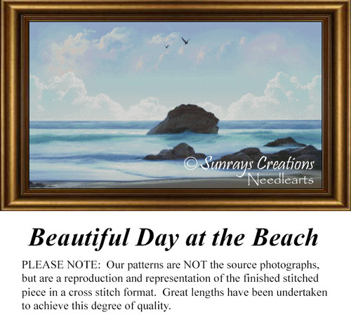 Beautiful Day at the Beach,Landscape Counted Cross Stitch Pattern