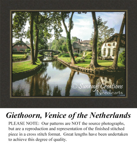 Giethoorn, Venice of the Netherlands, Landscapes Counted Cross Stitch Pattern, Waterscapes Counted Cross Stitch Patterns