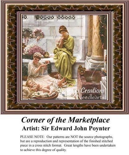 Corner of the Marketplace, Fine Art Counted Cross Stitch Pattern