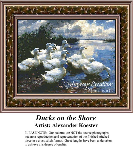 Ducks on the Shore, Fine Art Counted Cross Stitch Pattern
