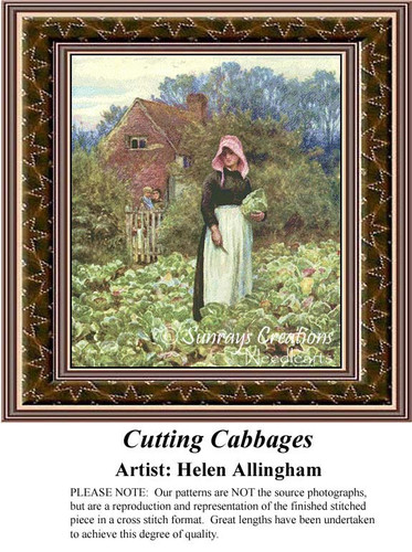 Cutting Cabbages, Fine Art Counted Cross Stitch Pattern, Women Counted Cross Stitch Pattern