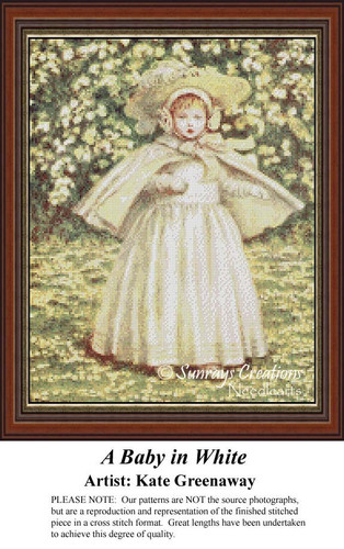 A Baby in White, Vintage Counted Cross Stitch Pattern