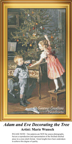 Adam and Eve Decorating the Tree,Vintage Christmas Cross Stitch