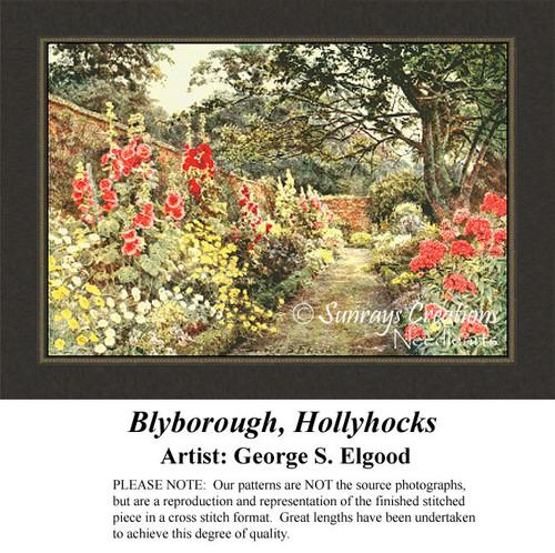 Blyborough, Hollyhocks, Fine Art Counted Cross Stitch Pattern