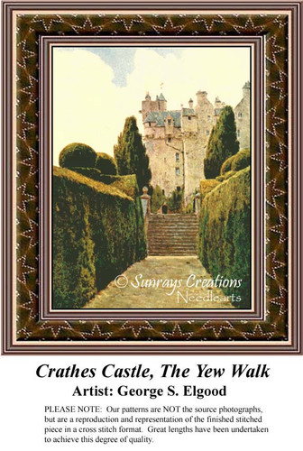 Crathes Castle, The Yew Walk, Fine Arts Counted Cross Stitch Pattern, Alluring Landscapes Counted Cross Stitch Pattern