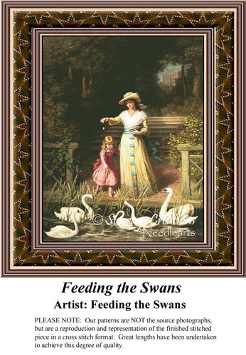 Feeding the Swans, Fine Art Counted Cross Stitch Pattern