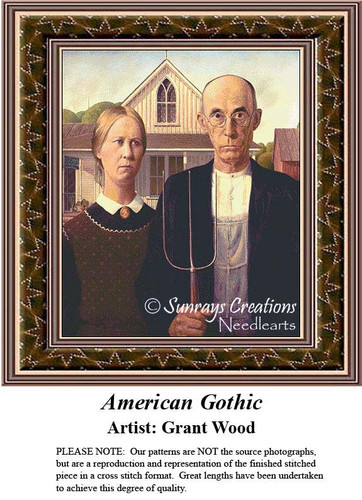 American Gothic, Cross Stitch Pattern by Grant Wood, Romance Counted Cross Stitch Pattern