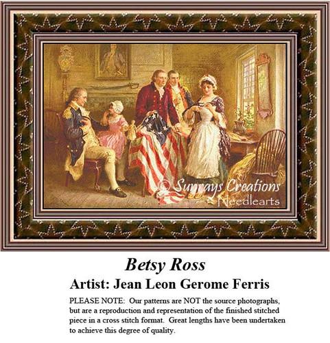 Betsy Ross, Patriotic Cross Stitch Pattern, Fine Art Counted Cross Stitch Patterns, Social Counted Cross Stitch Pattern