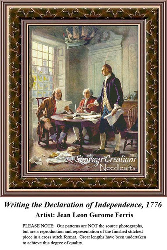Patriotic Cross Stitch Pattern   Writing the Declaration of Independence, 1776