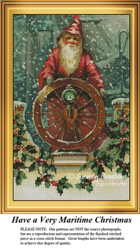 Santa Claus Cross Stitch Pattern | Have a Very Maritime Christmas