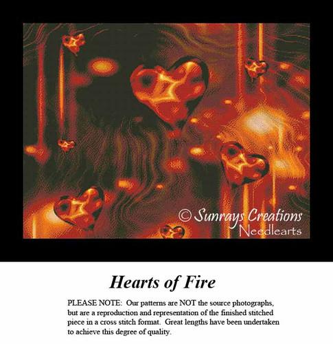 Fractal Cross Stitch Pattern   Hearts of Fire