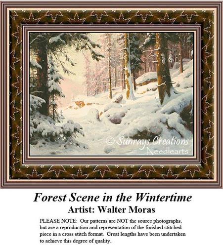 Forest Scene in Wintertime, Fine Art Cross Stitch Pattern, Winter Counted Cross Stitch Pattern, Alluring Landscapes Counted Cross Stitch Patterns