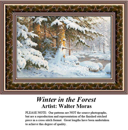 Winter Cross Stitch Patterns, Winter in the Forest, Winter Counted Cross Stitch Pattern