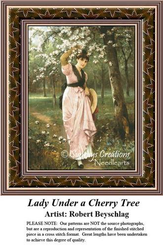 Fine Art Cross Stitch Patterns   Lady Under A Cherry Tree   Women Counted Cross Stitch Pattern