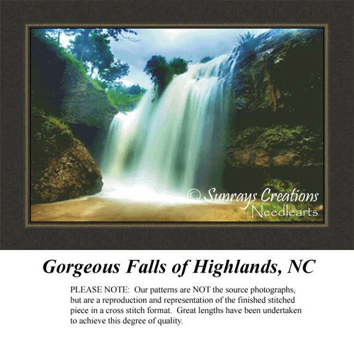 Landscape Cross Stitch Patterns | Gorgeous Falls of Highlands, NC