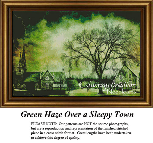 Green Haze Over a Sleepy Town, Alluring Landscapes Cross Stitch
