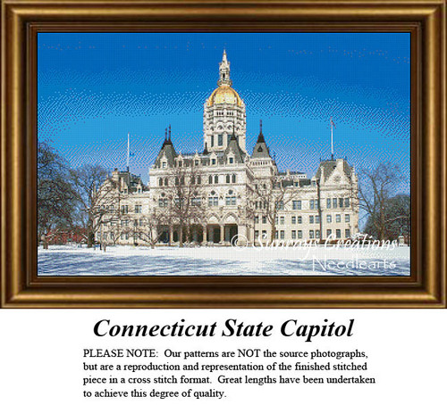 New England States Cross Stitch Patterns | Connecticut State Capitol