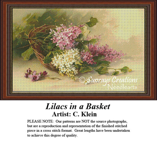 Vintage Cross Stitch Patterns | Lilacs in a Basket