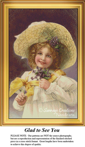 Vintage Cross Stitch Patterns | Glad to See You