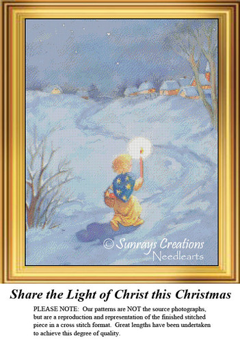 Vintage Cross Stitch Pattern   Share the Light of Christ this Christmas