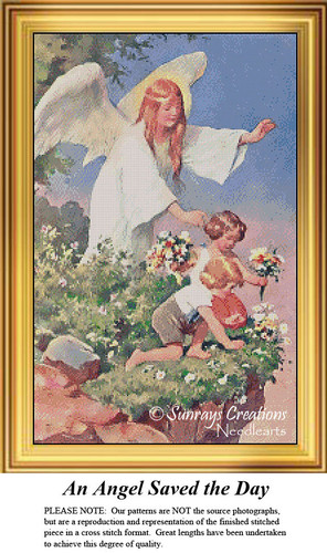 Vintage Cross Stitch Pattern | An Angel Saved the Day