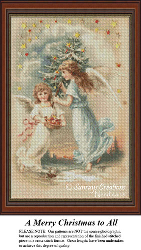 Vintage Cross Stitch Pattern | A Merry Christmas to All